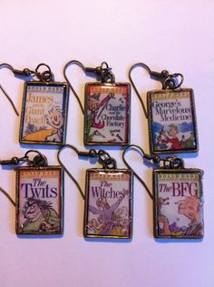 Set of 6 Mix and Match Roald Dahl Book Cover Earrings. £8.00, via Etsy.    unicorns, rainbow, kawaii, beads, mixed, cute, fun, handmade, kitsch, wedding, fashion, accessories, hipster, lolita, alt, punk, rock n roll, unique, one of a kind, books,
