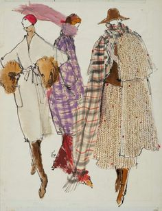 Illustration by Kenneth Paul Block, 1 9 7 4, Bill Blass, Geoffrey Beene,  Adolfo Sardiña for W Magazine.