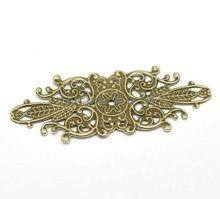 Wholesale !30 Bronze Tone Filigree Flower Wraps Connector Embellishments Findings 85x34mm DIY Craft Jewelry (W03506 X 1)(China (Mainland))