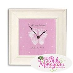 Personalized Baby Pink Feet Clock