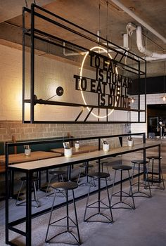 Preach Café by De Simone Design. Photo by Dave Wheeler. – Paranyoo Phatkim Preach Café by De Simone Design. Photo by Dave Wheeler. Preach Café by De Simone Design. Photo by Dave Wheeler. Decoration Restaurant, Deco Restaurant, Restaurant Signage, Restaurant Quotes, Cafe Signage, Cafe Decoration, Pub Decor, Restaurant Lighting, Restaurant Ideas