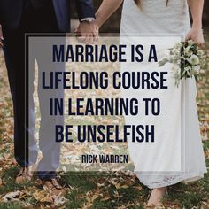 Marriage is a lifelong course in learning to be unselfish. - Rick Warren #familyshare #quotes #marriage Marriage Relationship, Quotes Marriage, Marriage Goals, Marriage Humor, Marriage Help, Godly Marriage, Strong Marriage, Healthy Marriage, Happy Marriage