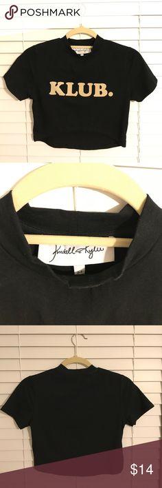 Kendall + Kylie. KLUB. tee. Kendall + Kylie KLUB. cropped tee. medium. 95% cotton. 5% elastane. excellent condition! Kendall & Kylie Tops Crop Tops