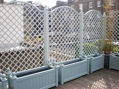 & trellis might work better than a standard garden fence. for my front driveplanters & trellis might work better than a standard garden fence. for my front drive Small Garden Fence, Garden Shrubs, Diy Garden, Backyard Fences, Garden Fencing, Garden Beds, Trellis Fence, Garden Trellis, Garden Benches