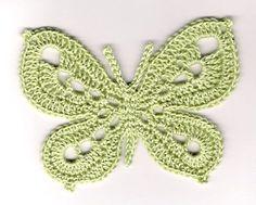 yeşil tığ işi kelebek modeli