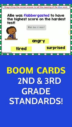 Use this interactive ALL YEAR LONG 2nd & 3rd Grade Boom Cards Bundle to focus on reading comprehension activities, grammar skills, language, vocabulary & more. Clarify the meaning of multiple-meaning words, phrases & understand vocabulary. Makes your life easier and huge value, too! #DistanceLearningTpT #BoomLearning #boomcards #Grammar #boomcardsreading #homeschool #boomcards2ndgrade #boomcards3rdgrade #TeacherFeatures #boomcards2ndgrade #boomcardsthirdgrade #ReadingComprehension #reading