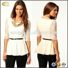 Wholesale Women Fashion New Style Round Collar Three Quarter Sleeve Lace Sexy Lady Top