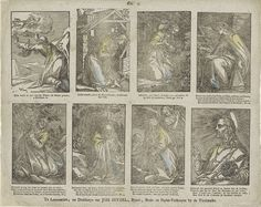 Christoffel van Sichem (IV) | Taferelen uit het Oude en het Nieuwe Testament, Christoffel van Sichem (IV), Johannes Seydel, 1776 - 1813 | Blad met 8 voorstellingen knielende en biddende heiligen en figuren uit de Bijbel. Onder elke afbeelding een onderschrift. Genummerd midden boven: No. 5.