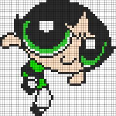 PowerPuff Girls ButterCup Perler Bead Pattern / Bead Sprite (Shows better on site) Beaded Cross Stitch, Cross Stitch Art, Cross Stitch Designs, Cross Stitching, Cross Stitch Patterns, Beading Patterns, Embroidery Patterns, Modele Pixel, Powerpuff Girls