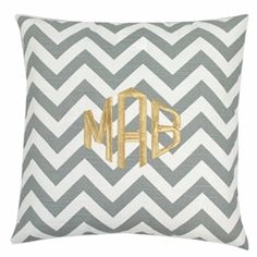 With hot pink thread ||| Gray Chevron Throw Pillow