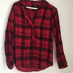 GAP buffalo check button down Red and black buffalo check button down. Ruffle trim down the front, soft cotton material GAP Tops Button Down Shirts
