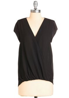 Aesthetically Breezing Top - Mid-length, Knit, Woven, Black, Solid, Work, Casual, Short Sleeves