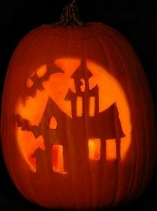 'Haunted House' Pattern - Free Scary Halloween Pumpkin Carving Patterns - Dot Com Women
