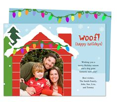 Photo Cards : Pet Lovers Woof Christmas Holiday Photo Card Template