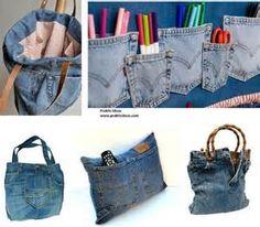 old jeans   blue jean crafts   Pinterest