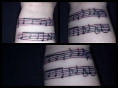 """Love my first tattoo!! ♥ I've always wanted music notes on my wrist since I was 13, and I finally got it. =] The notes are black and the staff is a dark purple (my fav colors). Its my dedication for my love for music and for my love for my most favorite band since I was 7; #Korn. The notes are from the first two lines of the song I picked out. Though it was difficult, I just went with one of their classic songs, """"Freak on a Leash"""". I love my tribute to them. ♥ ....Now I want another…"""