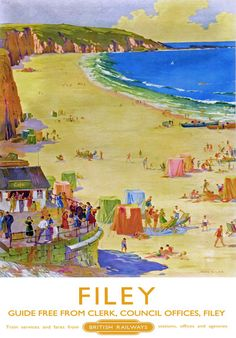 #Filey, North #Yorkshire #Railway Poster, #England.
