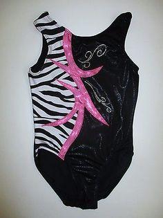Melody AL Black Pink Foil Leotard Gymnastics Adult Large Zebra Animal Print