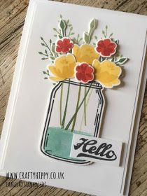 This picture shows a handmade card made using the Jar of Love stamp set by Stampin' Up! with Daffodil Delight and Poppy Parade flowers Mason Jar Cards, Mason Jars, Making Greeting Cards, Making Cards, Handmade Card Making, Love Stamps, Bunch Of Flowers, Card Making Inspiration, Daffodil