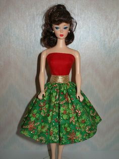 Handmade Barbie clothes  Red and green print by TheDesigningRose, $7.00