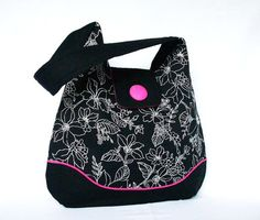 Hobo Bag  Shoulder Bag  Black  White Floral  Hot by PouchStyle, what a lovely bag