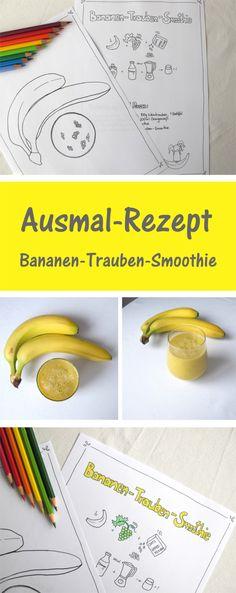 Probiere das köstliche Ausmal Rezept für einen Bananen Trauben Smoothie aus. Oder nutze es einfach nur als Ausmal Seite ;)