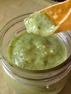 Creamy Salsa Verde recipe with avocado, tomatillo, cilantro, lime, onion, honey/agave, and a tiny bit of jalapeno.