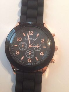 New Geneva Black Silicone Band Watch #Geneva #Fashion