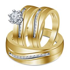 14k Yellow Gold FN 925 Silver White Simulated Diamond His & Her Trio Ring Set #Unknown