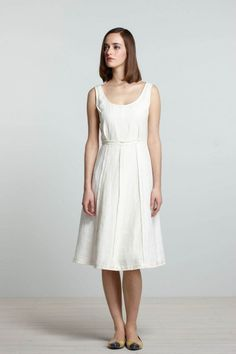 white linen dress, Koto Bolofo for Anthropologie - simple shape, like the waist at waist fitting.