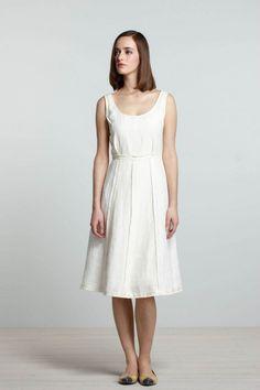 white linen dress, Koto Bolofo for Anthropologie - simple shape, like the waist at waist fitting.