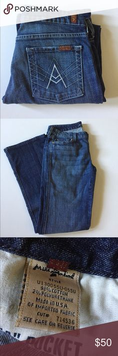 """7 For All Mankind A Pocket Flare Jeans Excellent condition. Low rise, flare. Darker wash. Distressed at pockets. Some fraying on back hems. Style U130055U-055U, Cut 714536. Size 30. 98% cotton, 2% polyurethane. Waist about 32, rise about 8"""", inseam about 32"""". Not from a smoke free house. #451 7 For All Mankind Jeans Flare & Wide Leg"""