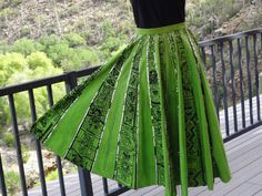 Hand Painted Vintage Mexican Circle Skirt from 1950's In Lime Green with Black… Vintage Shoes, Vintage Outfits, Vintage Fashion, 1950s Inspired Fashion, Mexican Skirts, Thing 1, Aztec Designs, Silver Sequin, Separates