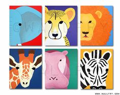 Safari nursery prints for baby & child. SET OF ANY 6 by Wallfry