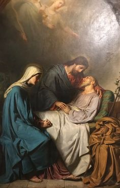 Joseph close to death, with Jesus at his side and Mary sitting at his feet. Joseph is Patron of a Happy Death because of this. Pictures Of Jesus Christ, Religious Pictures, Bible Pictures, Catholic Art, Catholic Saints, Religious Art, Jesus Christ Painting, Paintings Of Christ, Jesus Face