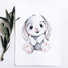 Looks like Znoozer Cute Animal Drawings, Cool Art Drawings, Art Drawings Sketches, Bunny Drawing, Bunny Art, Illustration Mignonne, Cute Illustration, Watercolor Animals, Watercolor Paintings