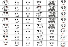 Draw a Lego face reference to leave on the table.