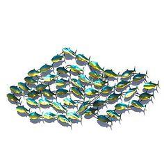Metal Fish Wall Decor metal fish wall hanging shoal of fish wall art silver fish wall