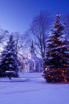 "A church in winter's ""Blue light"""
