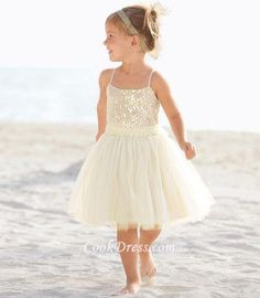 BEACH SEQUIN BODICE SHORT CHILDREN #FLOWERGIRLDRESS