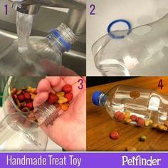 New Diy Dog Food Dispenser Pets Ideas Homemade Dog Toys, Diy Dog Toys, Pet Toys, Toy Diy, Dog Treat Toys, Diy Dog Treats, Diy Jouet Pour Chat, Croquettes Chat, Dog Treat Dispenser