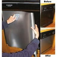Cover your appliances with stainless steel contact paper. Make sure that there are no broken or crooked edges. Completely coat the appliance with the contact paper, smoothing out any bubbles as you go. Home Renovation, Home Remodeling, Camper Renovation, Bathroom Remodeling, Camper Remodeling, Diy Design, Interior Design, Papel Contact, Remodeled Campers