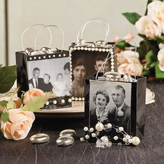 Family Photo Gift Bags Idea - OrientalTrading.com  Another neat idea to honor deceased relatives