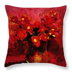 Red Throw Pillow featuring the painting Red Red by Cuiava Laurentiu Red Throw Pillows, Decorative Throw Pillows, Pillow Sale, Poplin Fabric, Fine Art America, Fabrics, Textiles, Tapestry, Prints