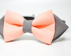 Peach and Gray solid bow tie adjustable by bowshopHandmade