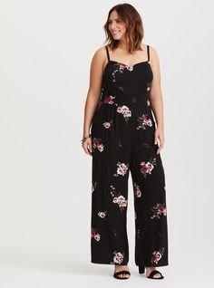 51627c752165 Black Floral Challis Jumpsuit - Lightweight challis and a stretch back  panel gives this jumpsuit a