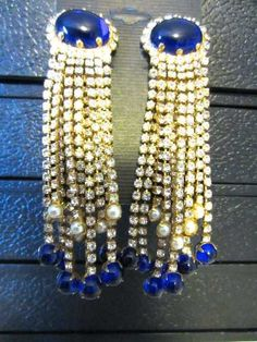 KJL Vintage Cabochon 12 Strand Rhinestone Dangle Kenneth J Lane Earrings   eBay