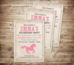 pony birthday invitation - pink and teal pony invitation - horse birthday invitation - pink and teal horse invite - pony horse birthday by PaperPrinceParties on Etsy https://www.etsy.com/listing/274824786/pony-birthday-invitation-pink-and-teal