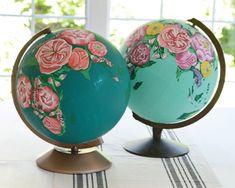 Painted globes - zevy joy etsy