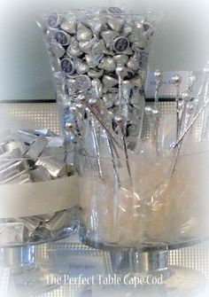 www.theperfecttablecapecod.com Silver and White Wedding Candy Buffet